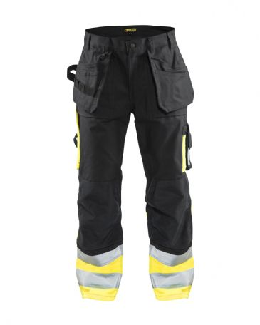 Blaklader 1529 High Visibility Trousers 100% Cotton Twill (Black/Yellow)